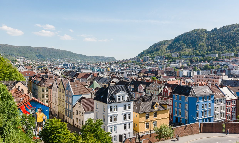 Utsikt over Møhlenpris, Bergen sentrum.