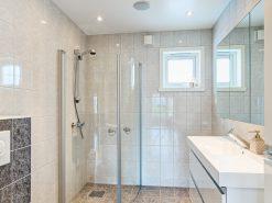 Baderom med toalett, dusjhjørne og servant